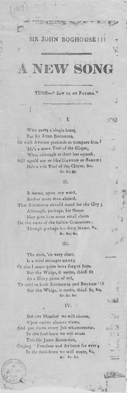 Broadside ballad entitled 'Sir John Boghouse'