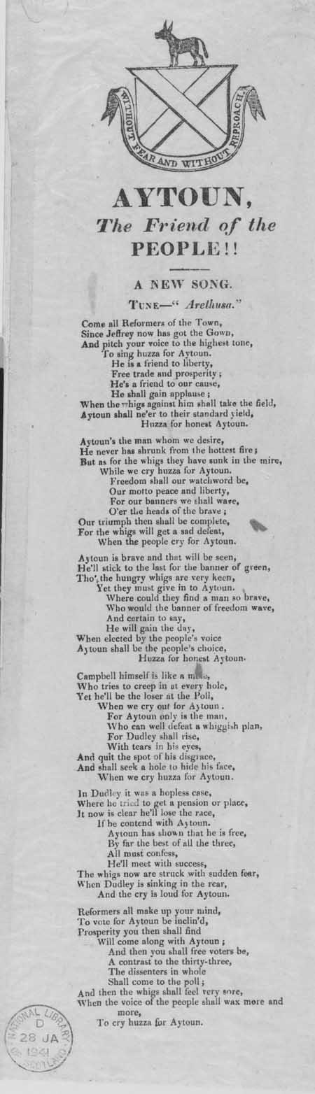 Broadside ballad entitled 'Aytoun, The Friend of the People!!'