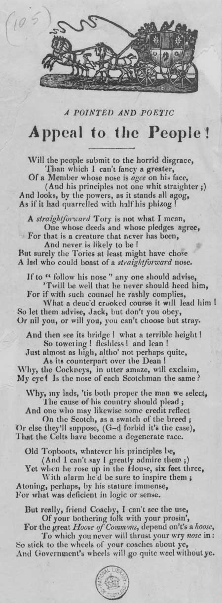 Broadside ballad entitled 'A Pointed and Poetic Appeal to the People!'