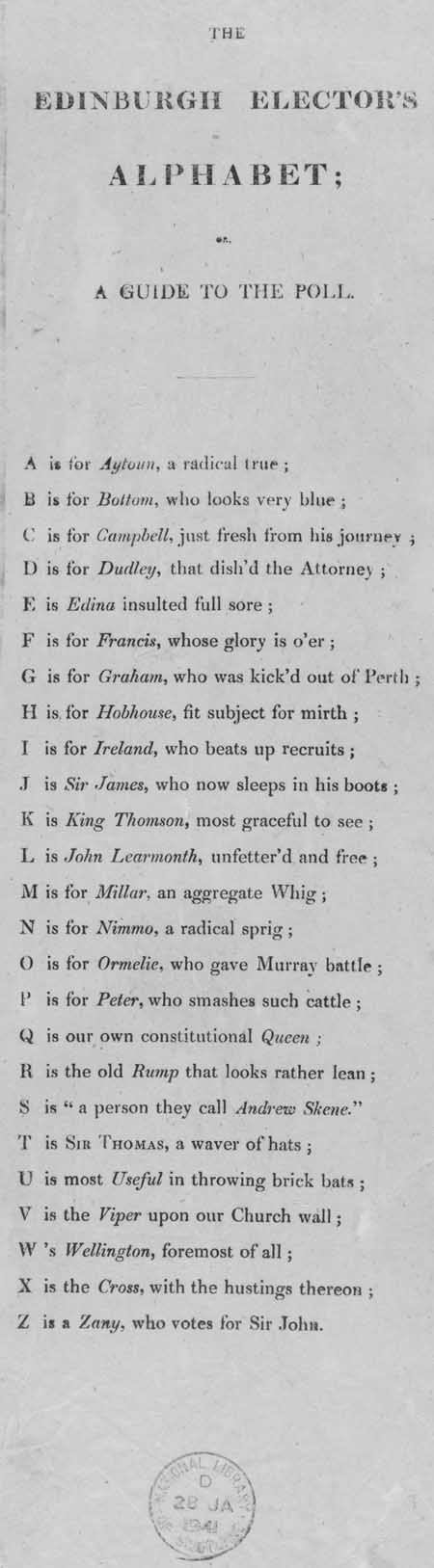 Broadside entitled 'The Edinburgh Elector's Alphabet; or A Guide to the Poll'