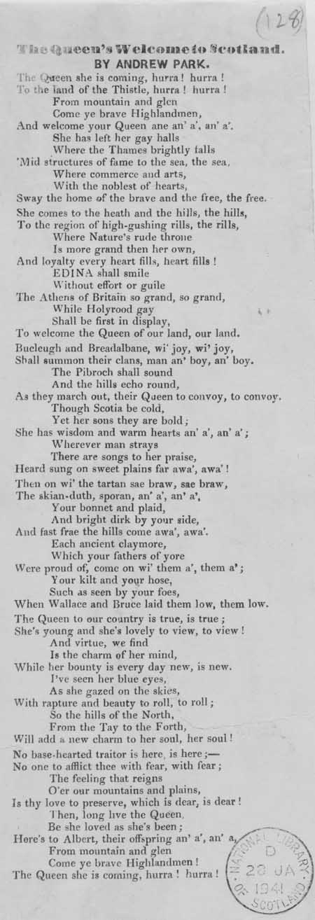Broadside ballad entitled 'The Queen's Welcome to Scotland'