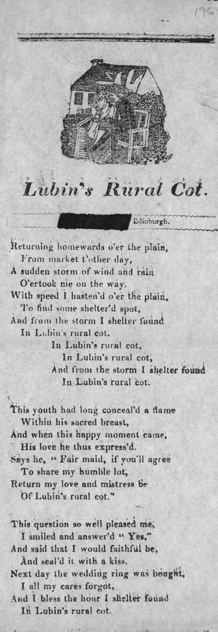 Broadside ballad entitled 'Lubin's Rural Cot'
