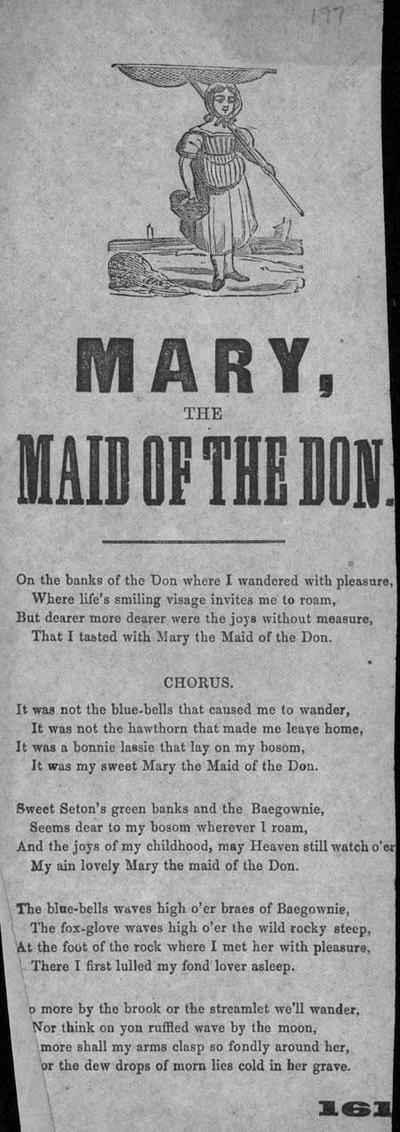 Broadside ballad entitled 'Mary, the Maid of the Don'