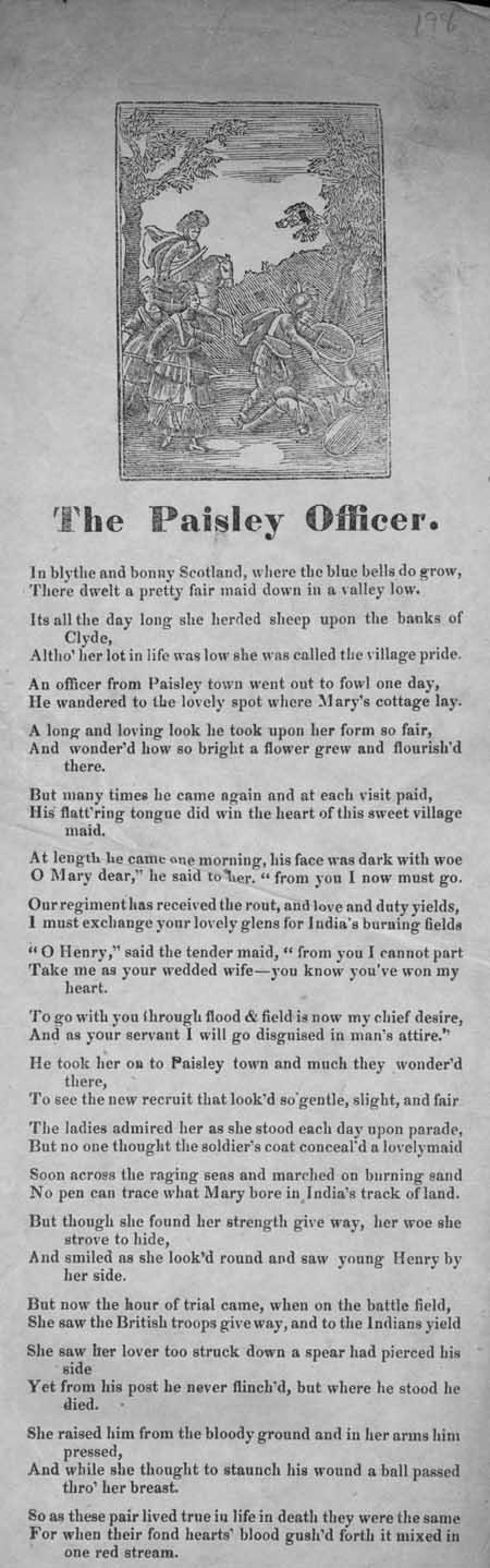 Broadside ballad entitled 'The Paisley Officer'