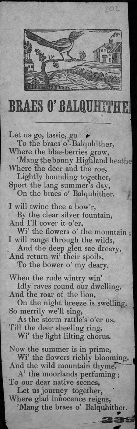 Broadside ballad entitled 'Braes o' Balquhither'
