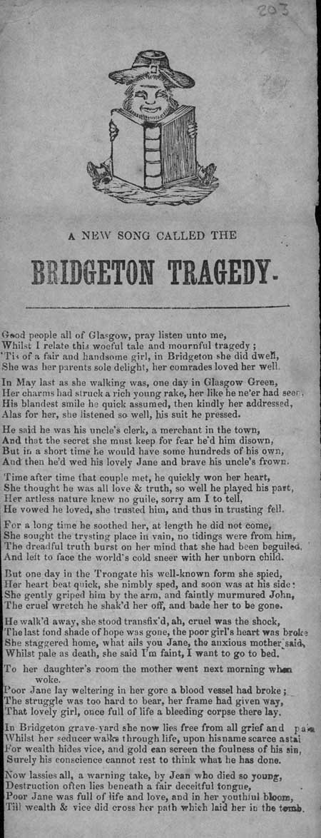 Broadside ballad entitled 'The Bridgeton Tragedy'
