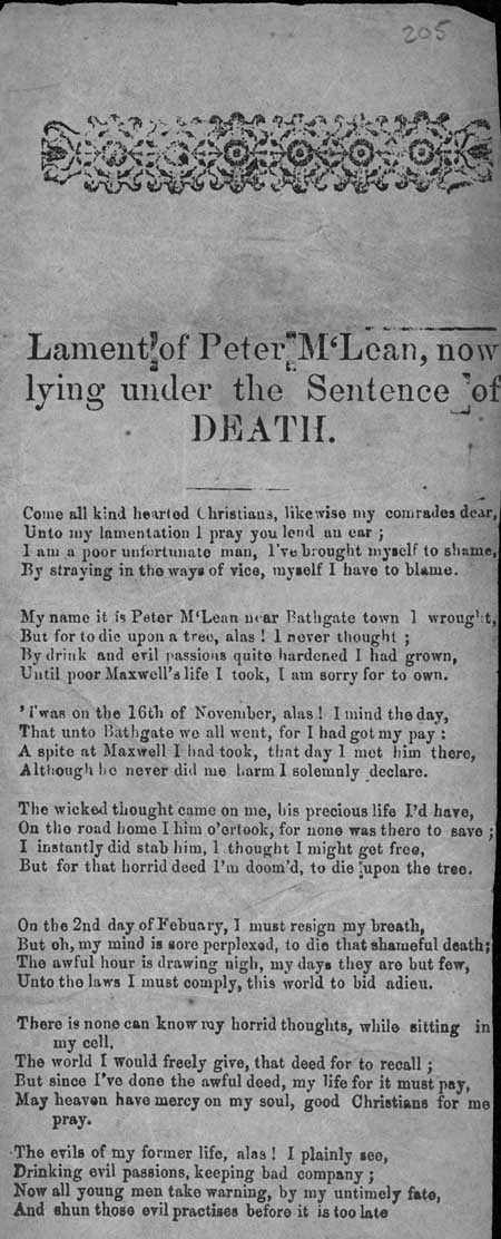 Broadside entitled 'Lament of Peter Mclean, now lying under the Sentence of Death'