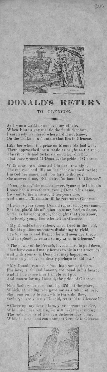 Broadside ballad entitled 'Donald's Return to Glencoe'