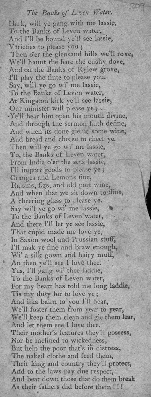 Broadside ballad entitled 'The Banks of Leven Water'