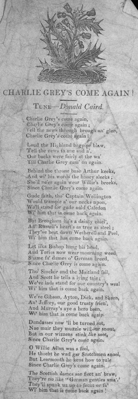 Broadside ballad entitled 'Charlie Grey's Come Again'