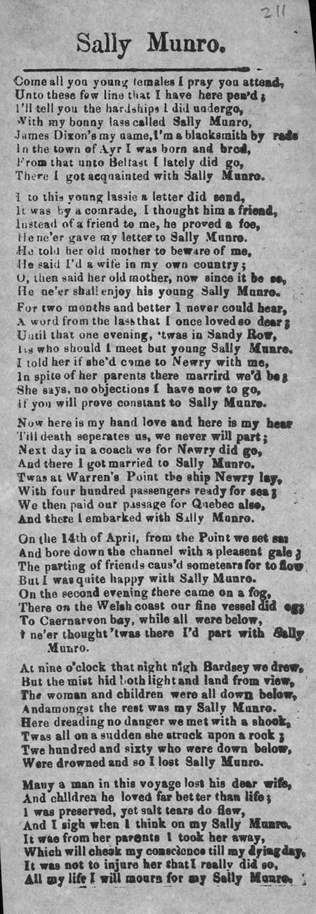 Broadside ballad entitled 'Sally Munro'