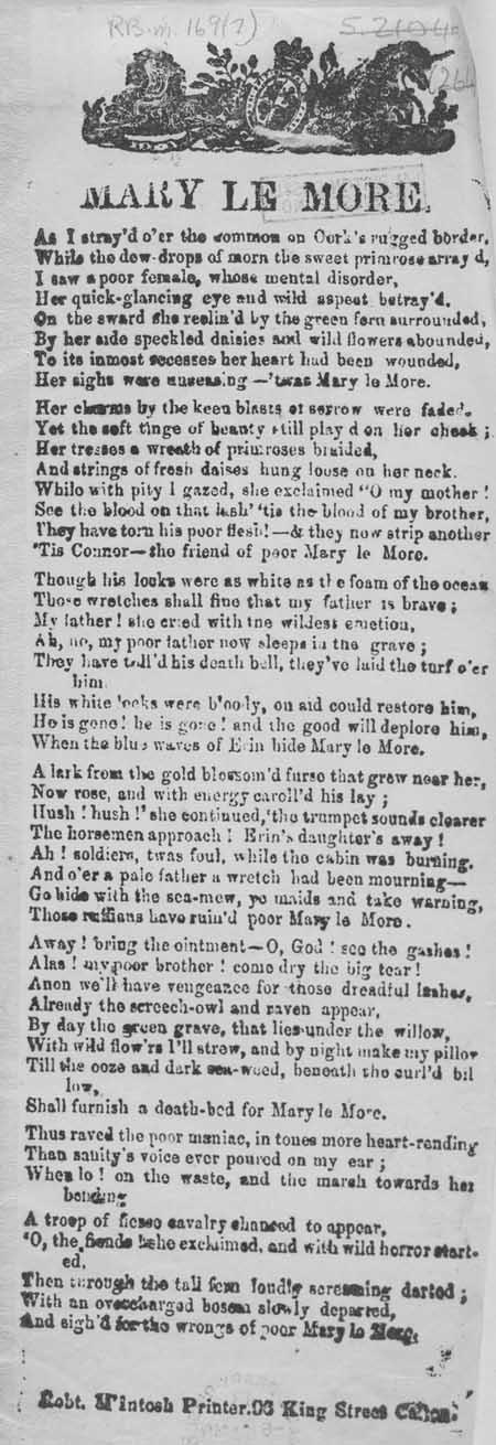 Broadside ballad entitled 'Mary Le More'