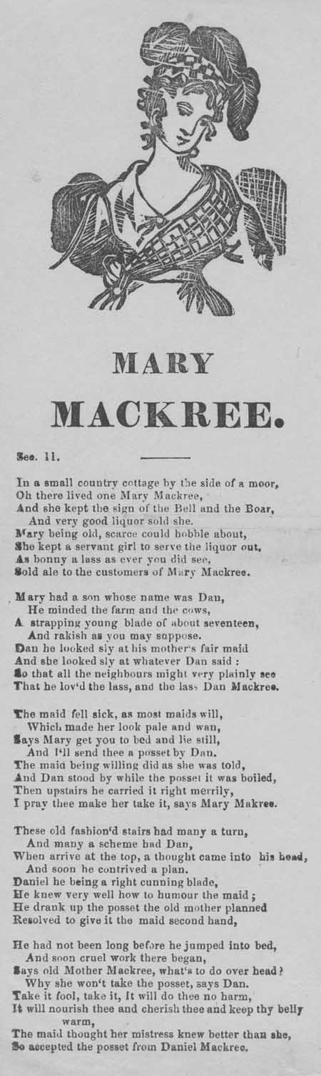 Broadside ballad entitled 'Mary MacKree'