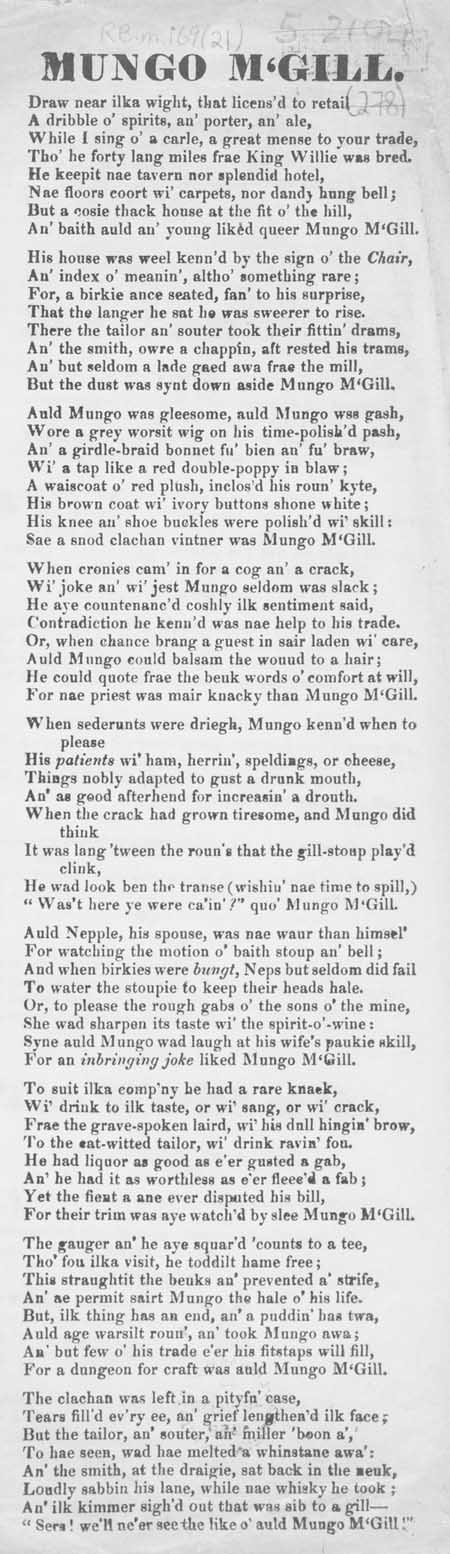 Broadside ballad entitled 'Mungo M'Gill'