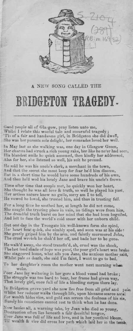 Broadside ballad entitled 'A New Song Called the Bridgeton Tradegy'