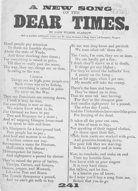 Broadside ballad entitled 'A New Song on the Dear Times'