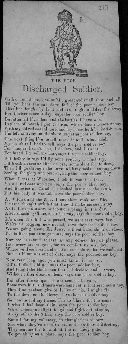 Broadside ballad entitled 'The Poor Discharged Soldier'