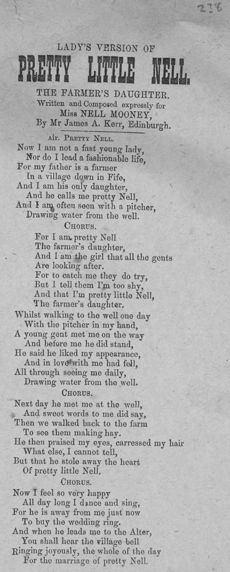 Broadside ballad entitled: 'Lady's Version of Pretty Little Nell the Farmer's Daughter'