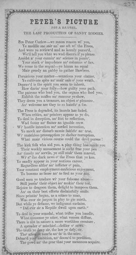 Broadside ballad entitled 'Peter's Picture for a Bawbee'