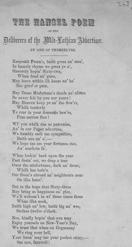 Broadside ballad entitled 'The Hansel Poem of the Deliverers of the Mid-Lothian Advertiser'