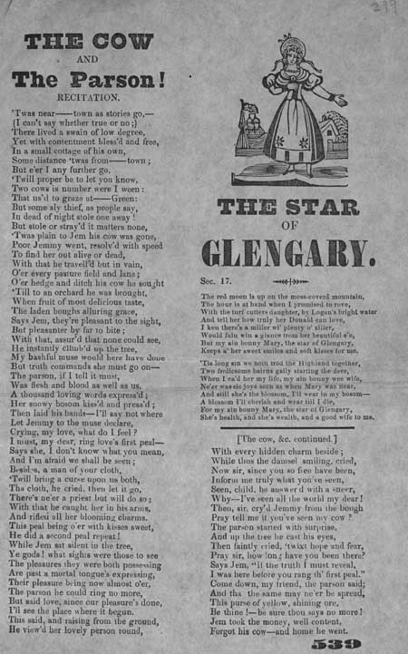Broadside ballads entitled 'The Cow and the Parson!' and 'The Star of Glengary'