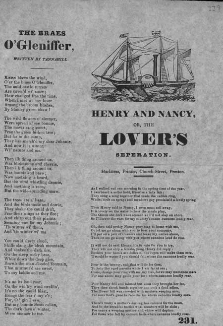 Broadside ballads entitled 'The Braes o' Gleniffer' and 'Henry and Nancy, or, The Lover's Separation'