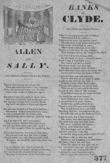 Broadside ballads entitled 'Allen and Sally' and 'Banks of Clyde'