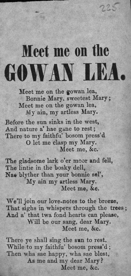 Broadside ballad entitled 'Meet Me on the Gowan Lea'