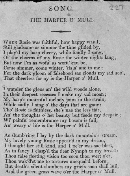 Broadside ballad entitled 'The Harper o' Mull'