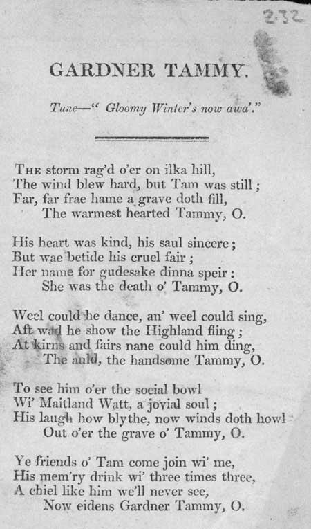 Broadside entitled 'Gardner Tammy'
