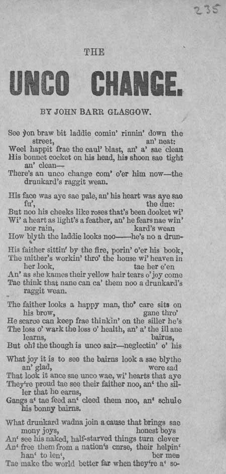 Broadside ballad entitled 'The Unco Change'
