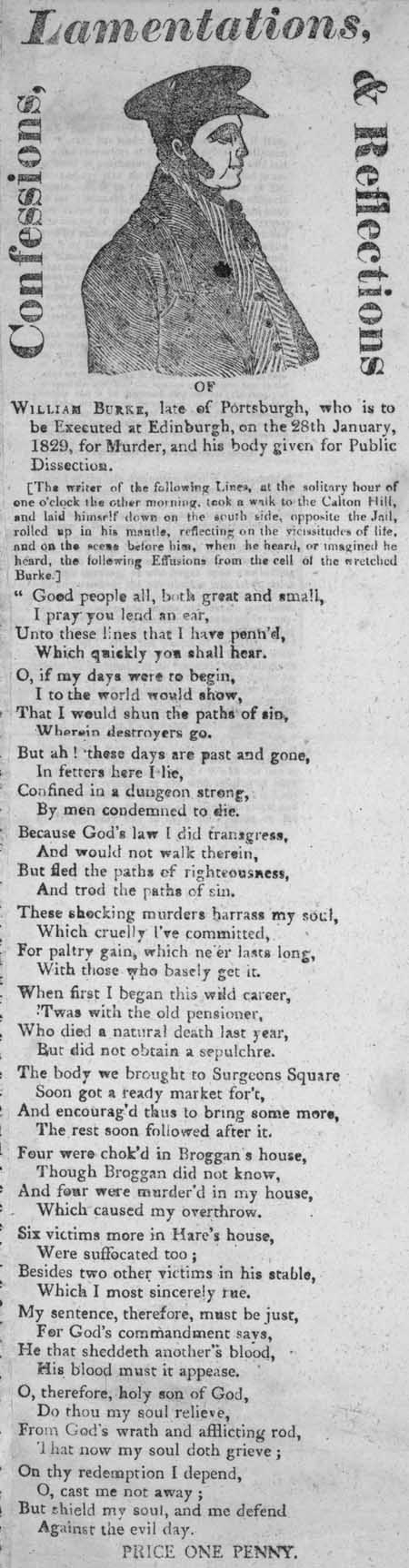 Broadside entitled 'Confessions, Lamentations, & Reflections of William Burke'