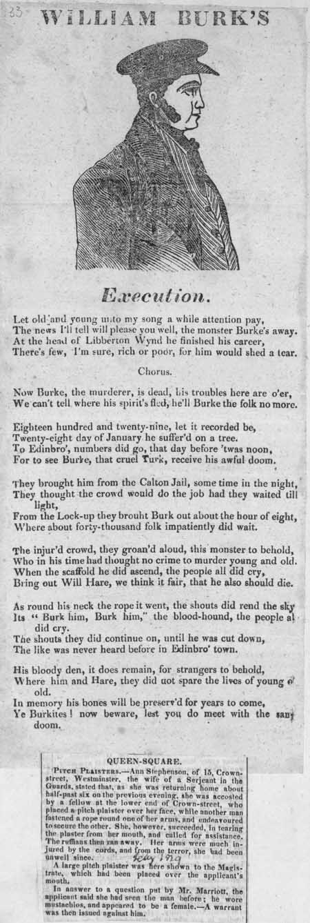Broadside ballad entitled 'William Burk's Execution'