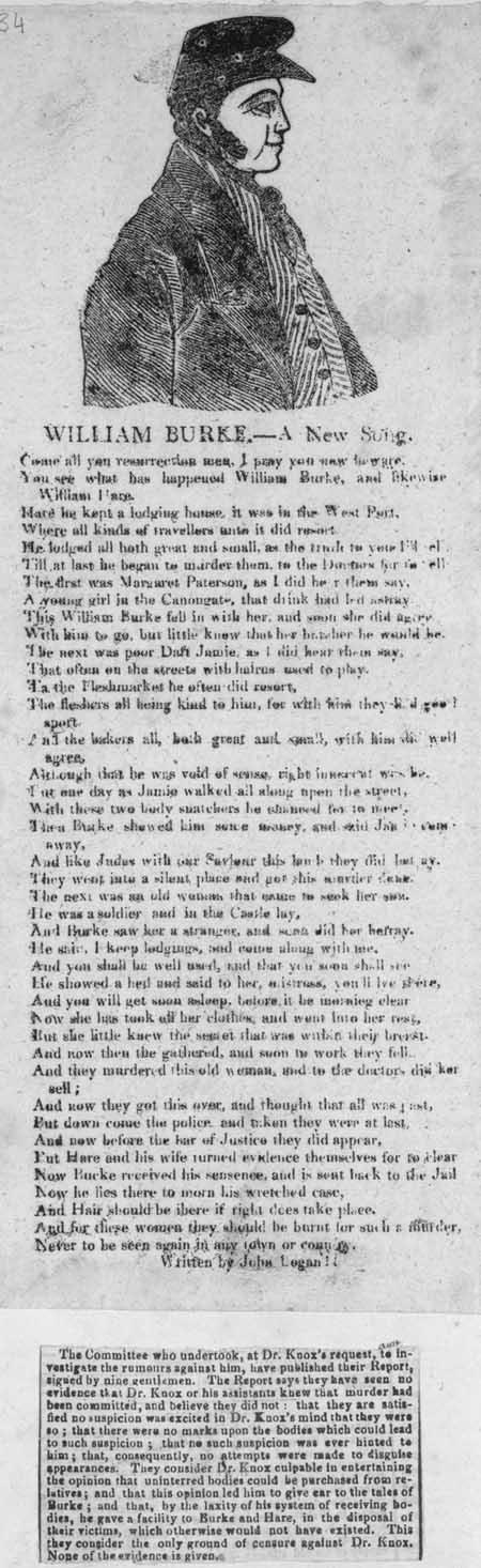 Broadside ballad entitled 'William Burke.--A New Song'