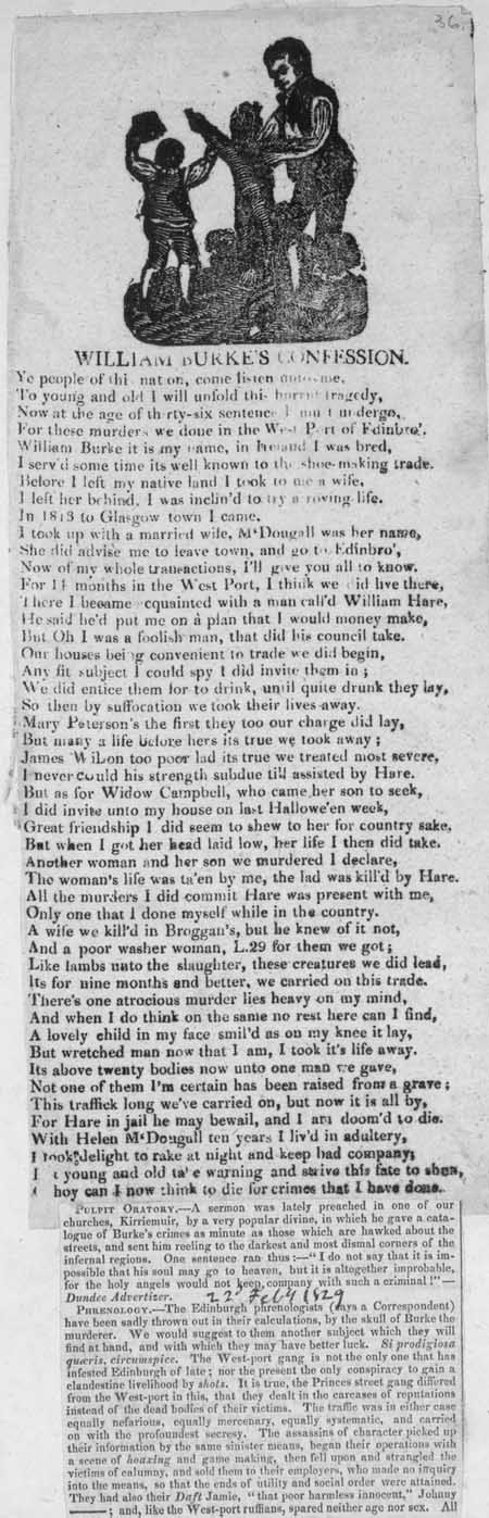 Broadside ballad entitled 'William Burke's Confession'