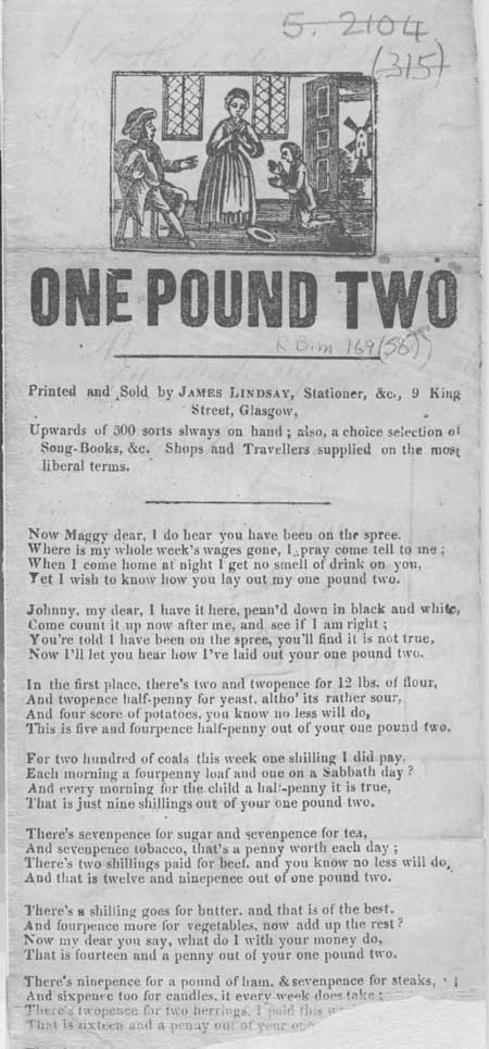 Broadside ballad entitled 'One Pound Two'