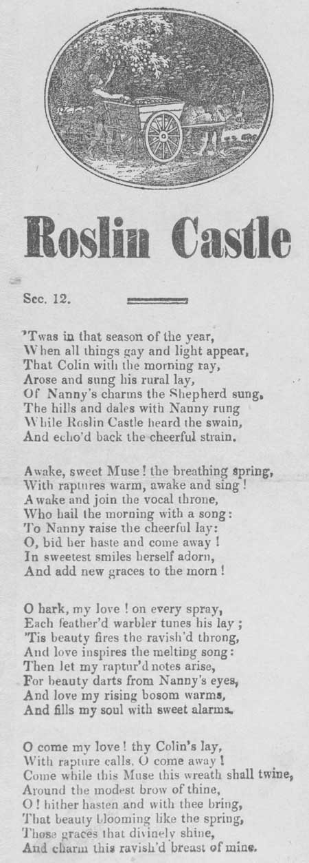 Broadside ballad entitled 'Roslin Castle'