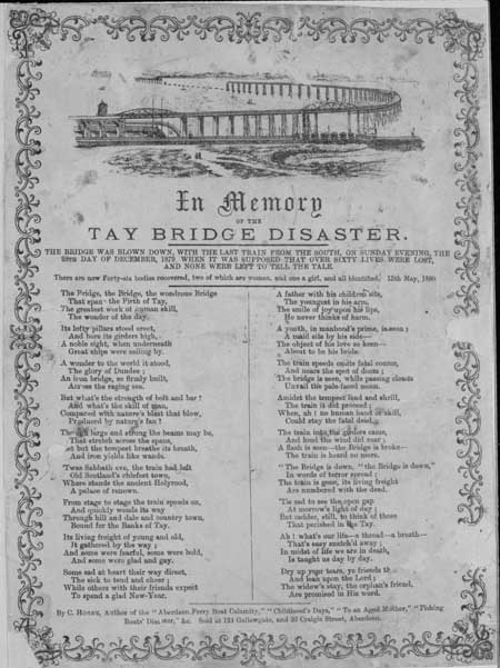 Broadside ballad entitled 'In Memory of the Tay Bridge Disaster'