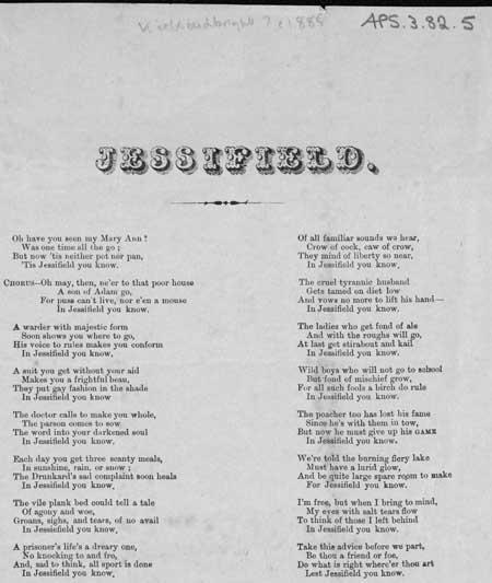 Broadside ballad entitled 'Jessifield'