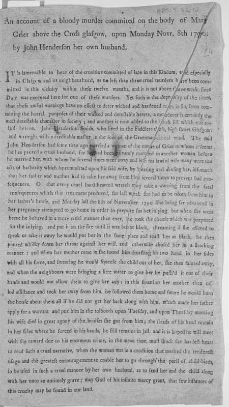 Broadside entitled 'An Account of a Bloody Murder'