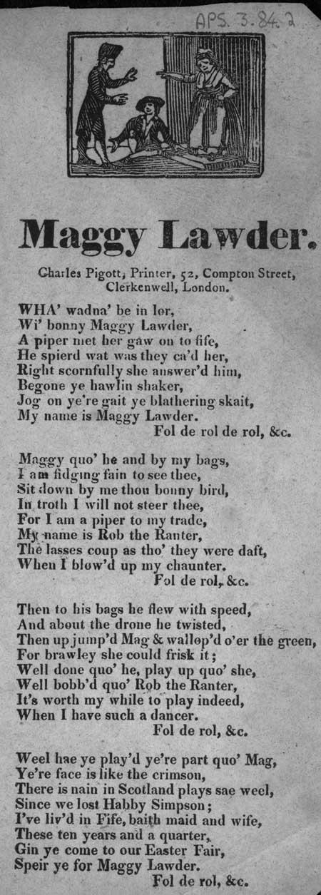 Broadside ballad entitled 'Maggy Lawder'