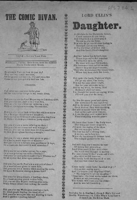 Broadside ballads entitled 'The Comic Divan' and 'Lord Ullin's Daughter'
