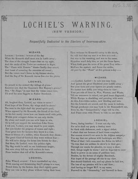 Broadside ballad entitled 'Lochiel's Warning (New Version)'