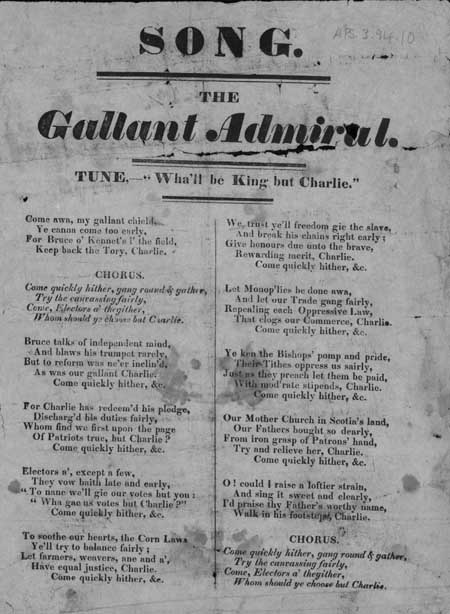 Broadside ballad entitled 'The Gallant Admiral'