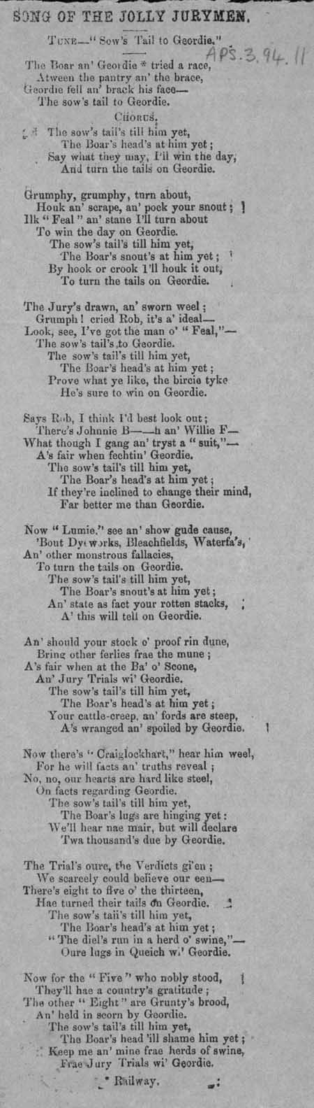 Broadside ballad entitled 'Song of the Jolly Jurymen'