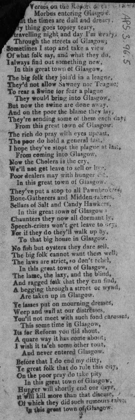 Broadside entitled 'Verses on the Report of the Morbus entering Glasgow'