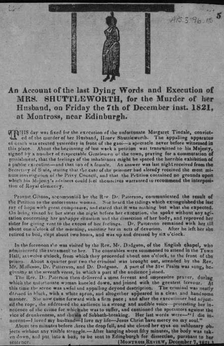 Broadside regarding the dying words and execution of Margaret Shuttleworth