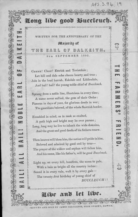 Broadside ballad entitled 'Long Live Good Buccleuch'
