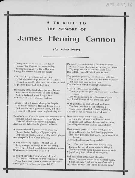 Broadside ballad entitled 'A Tribute to the Memory of James Fleming Cannon'