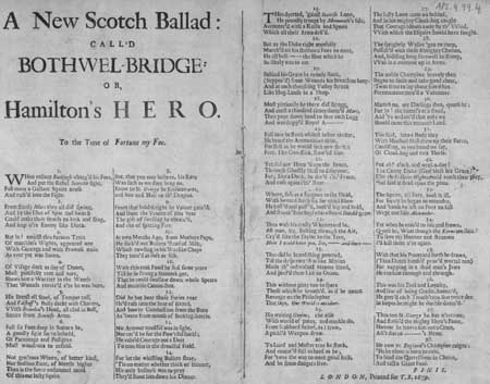Broadside ballad entitled 'New Scotch Ballad: Call'd Bothwell-Bridge: Or, Hamilton's Hero'